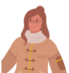 woman wearing winter clothes and glasses vector image