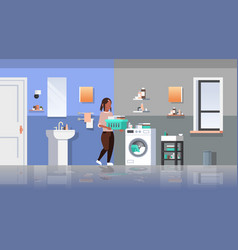 woman with clothes basket near washing machine vector image