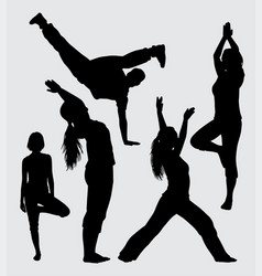 yoga and break dance male and female silhouette vector image