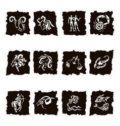 Zodiac sign silhouettes set of horoscope symbols vector