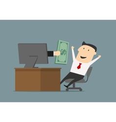 Businessman receiving money online through vector