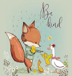 cute fox with ducks vector image vector image