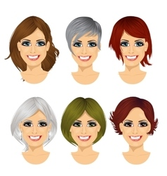 Isolated set of middle aged woman avatar vector