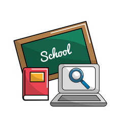 school board with books and laptop icon vector image vector image