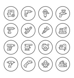 set round line icons of electric tools vector image