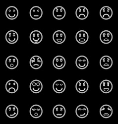 Circle face line icons on black background vector