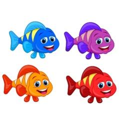 Cute fish cartoon collection set vector image vector image