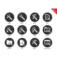 Magic icons on white background vector image