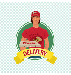 round icon on white background with pizza courier vector image