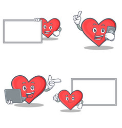set of heart character with board phone laptop vector image