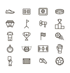 soccer game signs black thin line icon set vector image