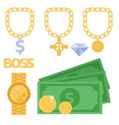 jewelry icons gold gemstones precious vector image