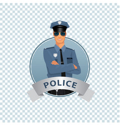 round icon on white background with policeman vector image