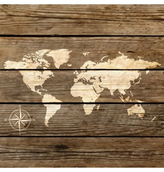 world map on a wooden board vector image