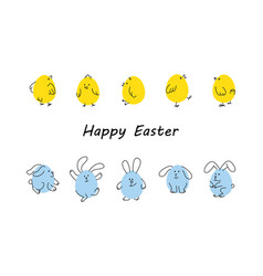 easter borders with funny bunnies and chicks vector image