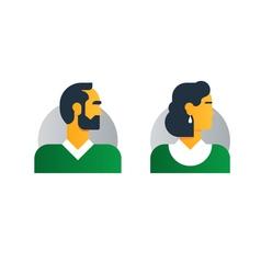 Man woman side view half face head clerk service vector image vector image