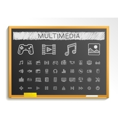 Media hand drawing line icons chalk sketch sign vector image
