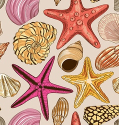 Seamless pattern of seashells and starfish vector image vector image