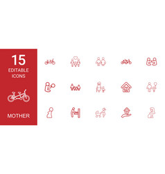 15 mother icons vector image