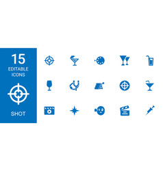 15 shot icons vector image