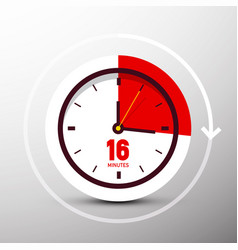 16 sixteen minutes clock icon time symbol vector