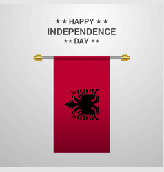 Albania independence day hanging flag background vector