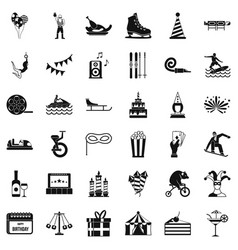 amusement icons set simple style vector image