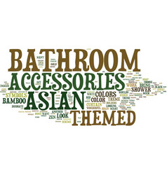 Asian themed bathroom accessories text background vector