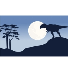 At night mapusaurus scenery silhouettes vector