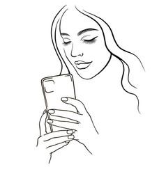 beautiful girl takes a selfie 1 girl vector image