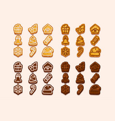 big set christmas and new year chocolate vector image