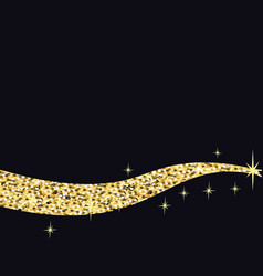 black background with gold glitter stars vector image