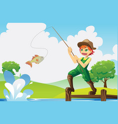 boy going fishing vector image
