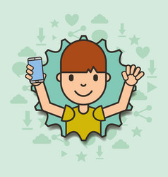 Boy holding smartphone with torn paper edges vector