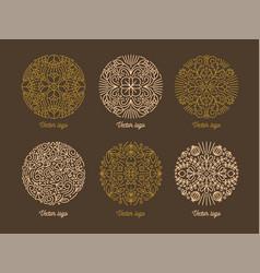 bundle round oriental ornaments drawn vector image