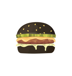 burger cartoon fast food black vector image vector image