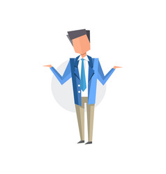 businessman spreading his hands cartoon vector image