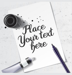 calligraphy mock up vector image