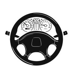 Car steering wheel logo design template vector
