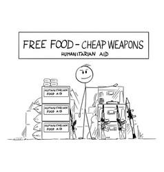 Cartoon vendor selling humanitarian aid food vector
