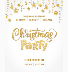 Christmas party poster template gold on white vector