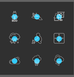 Clock time plants ecology sun cloud rain vector