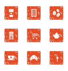 Coffeehouse icons set grunge style vector