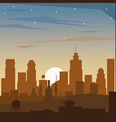 Colorful background of dawn landscape of city vector