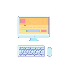 Computer lined icon for business work vector
