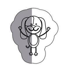 Contour teddy dog icon vector