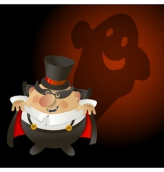 Cute Halloween Count Dracula with ghost vector image