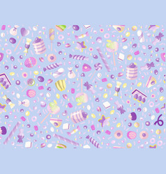 cute seamless pattern with colorful sweets cakes vector image