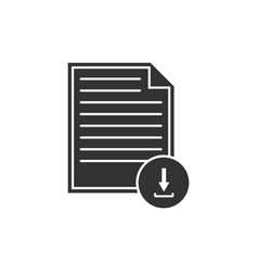document with download sign icon isolated file vector image