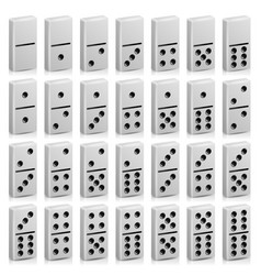 domino set realistic 3d white vector image